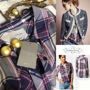 Anthropologie New with Tags Plaid Rails Buttondown